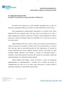 Carta de agradecimiento por Aldea Infantil SOS